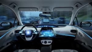empty cockpit of vehicle, HUD(Head Up Display) and digital speedometer, autonomous car, driverless vehicle